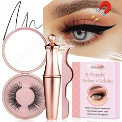 Toullgo-Magnetic Eyeliner and Lashes, Waterproof Magnetic Eyeliner With Magnetic Eyelashes and Tweezers