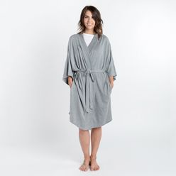 Organic Cotton Lounge Robe Gray Gray