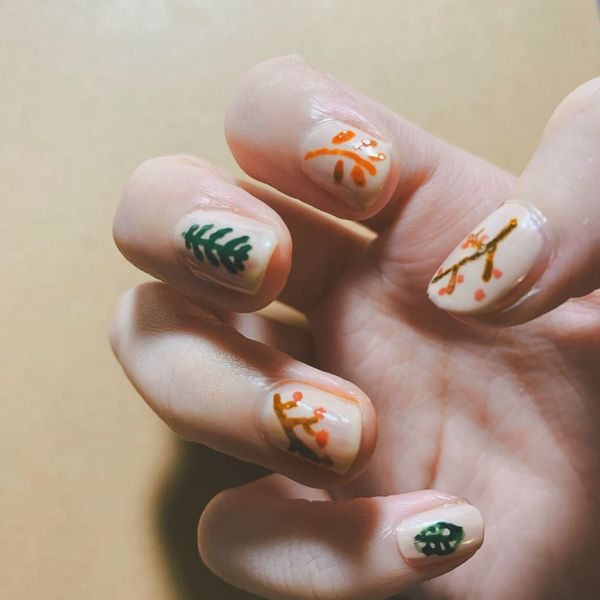 I did my FALL VIBE nails with acrylic markers🍂 | Cherie