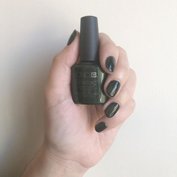 loving this deep green sparkly shade from cnd world and my lovely manicure by buffednailbar | Cherie