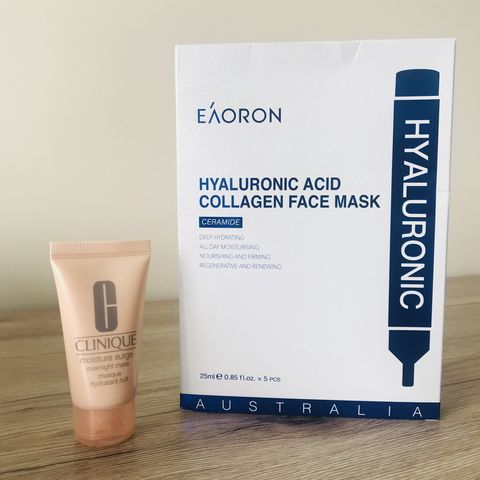 Favourite Hydration Masks: Eaoron Hyaluronic Acid Collagen Face Mask v Clinique Moisture Surge Overnight Mask