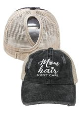 """Lcapmt861 """"Mom Hair Don't Care"""" Distressed Mesh Back Ponyflo Cap"""