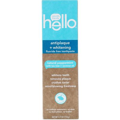 Antiplaque + Whitening Fluoride Free Toothpaste, Natural Peppermint