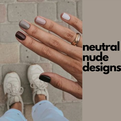 The trending designs for the neutral nude nails