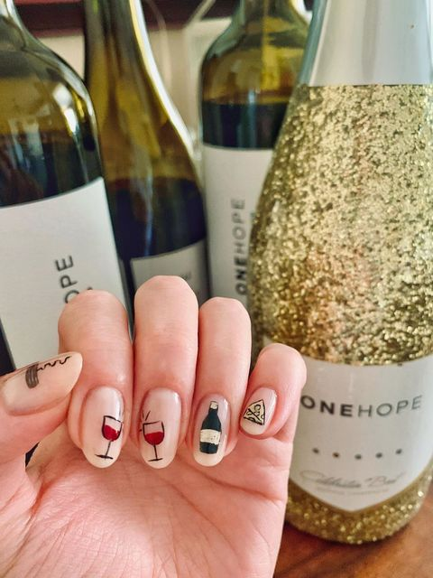 my wine/cheese party themed nails?!🍾🧀