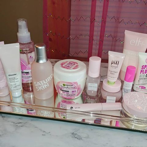 Heres some of my pink skincare