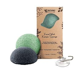 Konjac Sponge Facial Cleanser with Added Green Tea and Activated Bamboo Charcoal