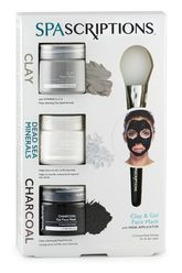Clay, Dead Sea & Charcoal Gel Face Mask Trio With Applicator