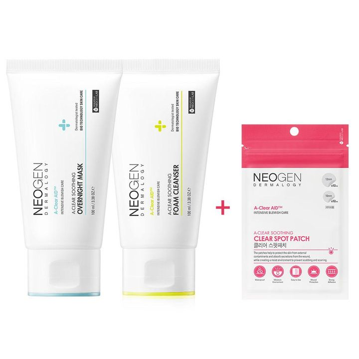 [Free Gift] Neogen Dermalogy A-Clear Aid Soothing Foam Cleanser + Overnight Mask + (Free Gift) Spot Patch 24 Counts