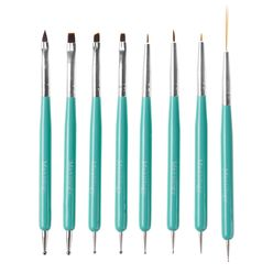 Dual Sided Nail Art Brush and Dotting Tool Set Cute Turquoise