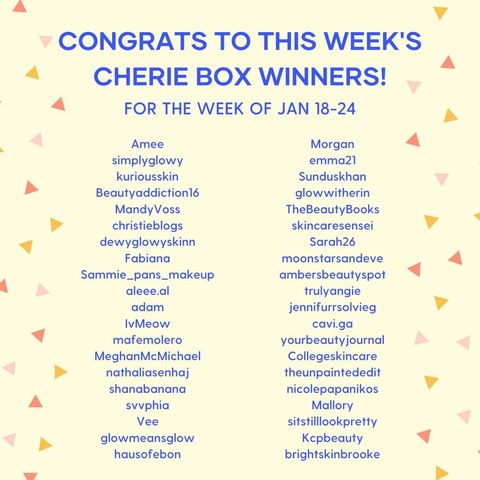 Congrats to this week's Cherie box winners 🤩❣️