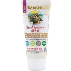 Natural Mineral Sunscreen Cream, Broad Spectrum SPF 15, Unscented