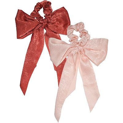 Scarf Scrunchies With Tails in Blush and Rust