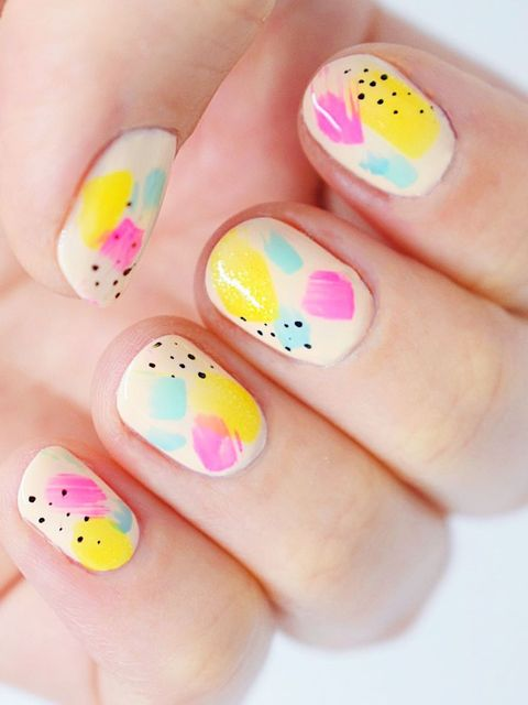 90's themed neon nails