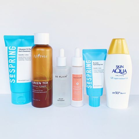 AM routine for sensitive oily skin