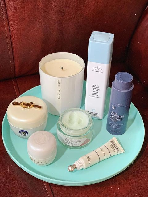 Some products in a white, blue