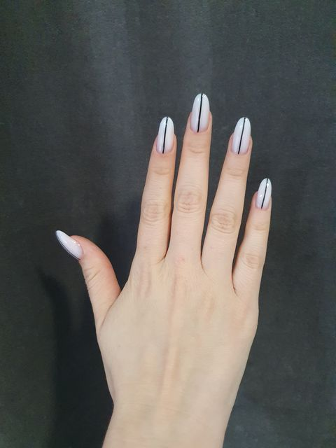 White nails with a touch of black