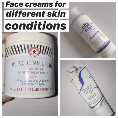Three face creams for my skin on three different conditions
