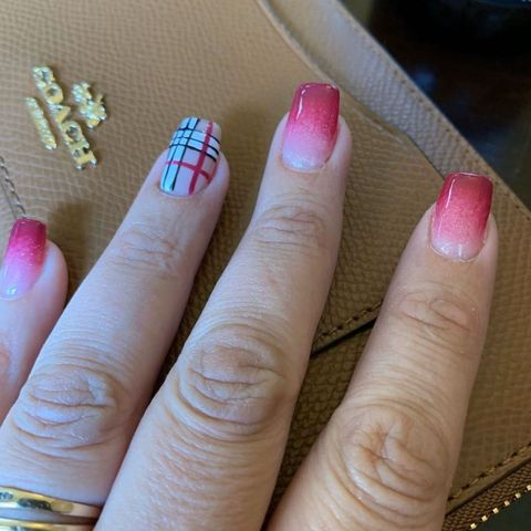 Ombré Nails with Burberry Accent Nail