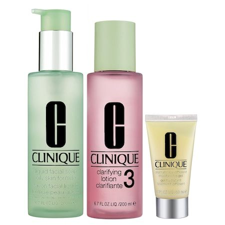3-Step Skin Care System For Skin Types 3, 4 Combination Oily to Oily Skins, CLINIQUE, cherie