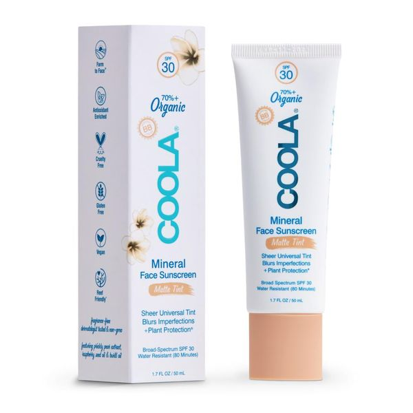 Mineral Face Organic Matte Tinted Sunscreen Lotion SPF 30, COOLA, cherie