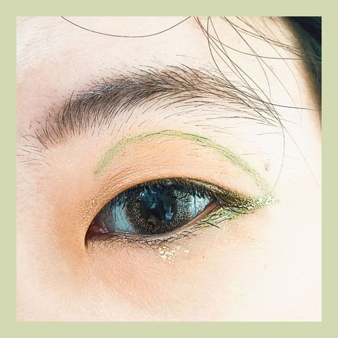 Green + Gold Liner Look for Monolids!