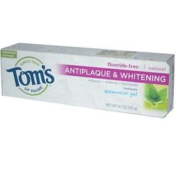 Antiplaque & Whitening, Fluoride-Free Toothpaste, Spearmint Gel