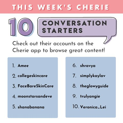 Congrats to this weeks top convo starters 🥰