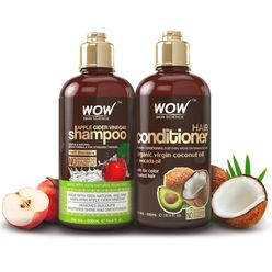WOW Skin Science Apple Cider Vinegar Shampoo and Coconut Oil Conditioner Pack (500ml/bottle) Pack
