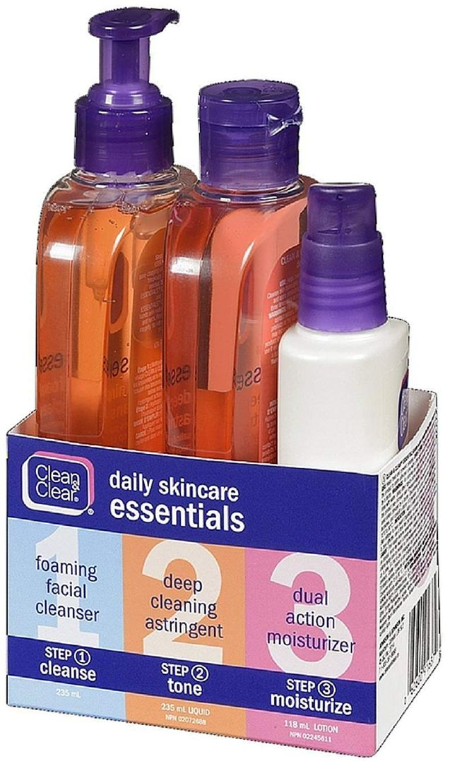 Daily Acne Skincare Essentials Set with Foaming Facial Cleanser, Deep Cleaning Astringent & Dual Action Moisturizer, Oil-Free, 3