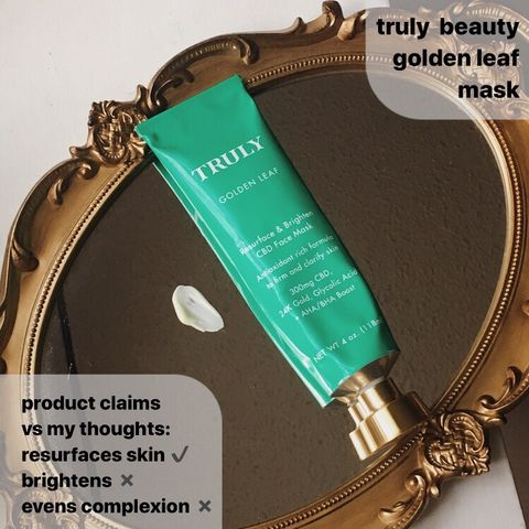 product claims: truly beauty golden leaf mask