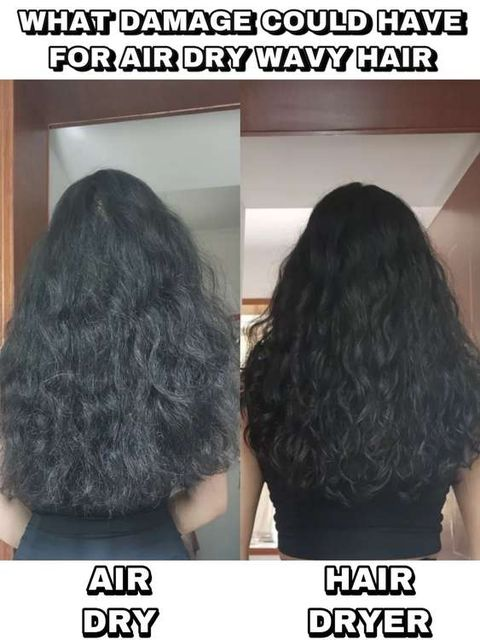 What damage that air drying could bring to the wavy hair?
