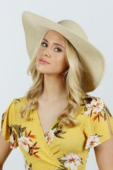 Sequined Aloha Babe With Pineapple Straw Floppy Natural
