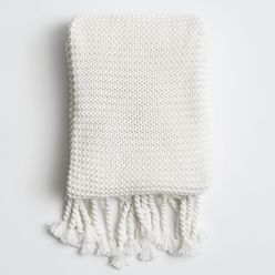 Organic Cotton Comfy Knit Throw Soft White White