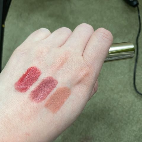 BECCA LIPSTICK SWATCHES (holiday party popper)