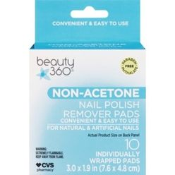 Beauty 360 Nail Polish Remover Pads Non-Acetone