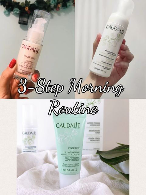 Caudalie 3-Step Morning Routine for Combination Skin