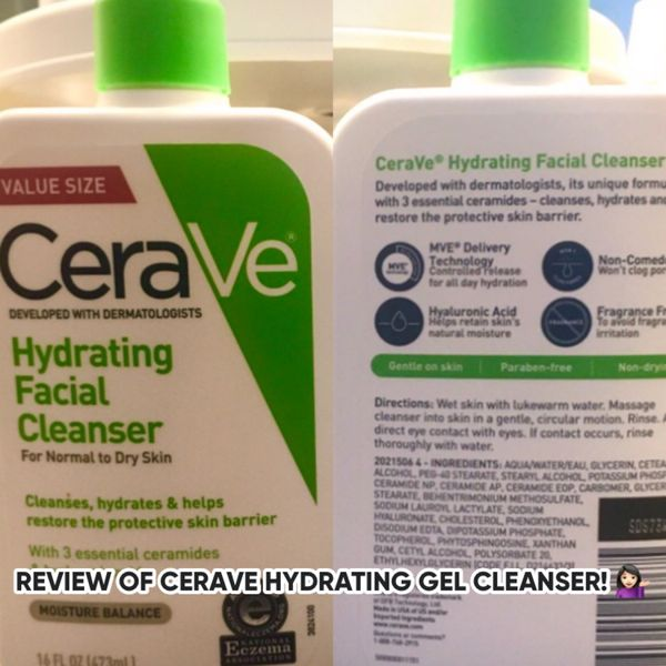 CERAVE HYDRATING GEL CLEANSER REVIEW! 💚   Cherie