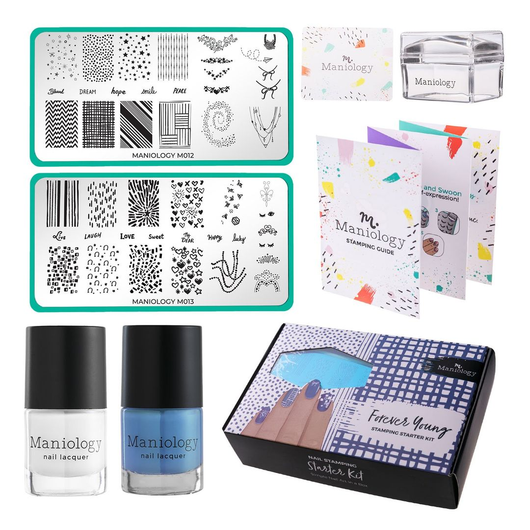 Forever Young: Nail Stamping Starter Kit Plates, Polishes, Scraper, & Stamper